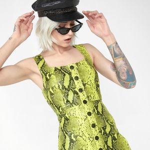🆕 Dolls Kill Neon Snake Print Leather Dress